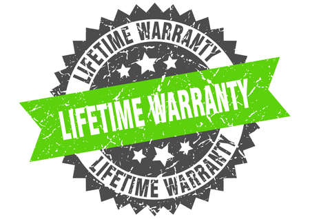 lifetime warranty grunge stamp with green band. lifetime warranty Illustration