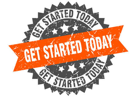 get started today grunge stamp with orange band. get started today