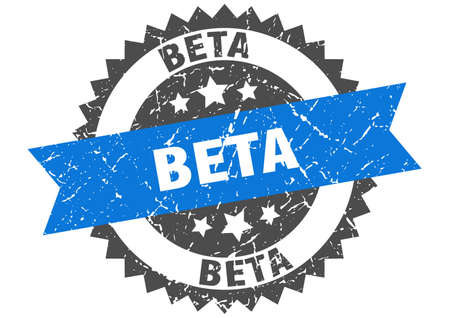 beta grunge stamp with blue band. beta