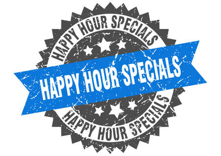 happy hour specials grunge stamp with blue band. happy hour specials Illustration