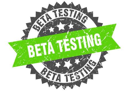 beta testing grunge stamp with green band. beta testing Vector Illustration