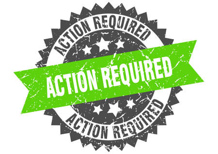 action required grunge stamp with green band. action required