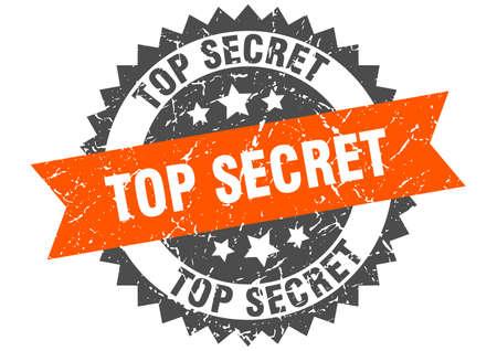 top secret grunge stamp with orange band. top secret