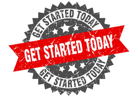 get started today grunge stamp with red band. get started today
