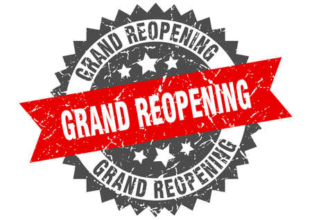 grand reopening grunge stamp with red band. grand reopening