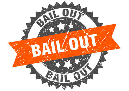 bail out grunge stamp with orange band. bail out Vectores