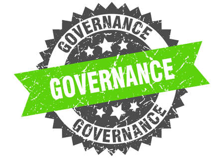 governance grunge stamp with green band. governance Çizim