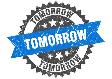 timbre grunge de demain avec bande bleue. demain Vecteurs