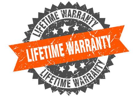 lifetime warranty grunge stamp with orange band. lifetime warranty Stock Vector - 133383294