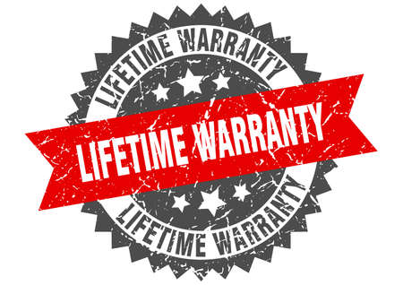 lifetime warranty grunge stamp with red band. lifetime warranty