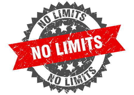 no limits grunge stamp with red band. no limits Çizim
