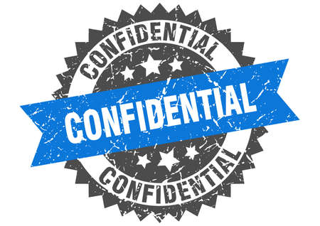 confidential grunge stamp with blue band. confidential