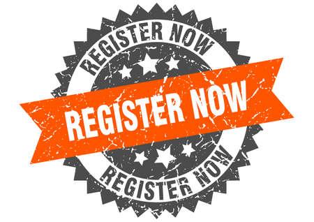 register now grunge stamp with orange band. register now