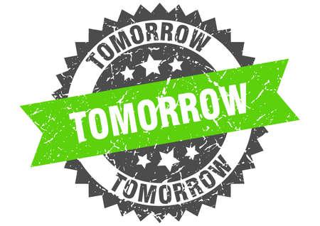 tomorrow grunge stamp with green band. tomorrow