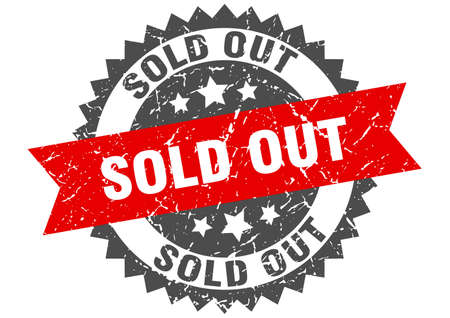 sold out grunge stamp with red band. sold out Vector Illustration