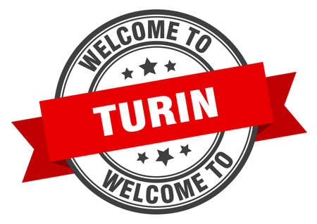 Turin stamp. welcome to Turin red sign