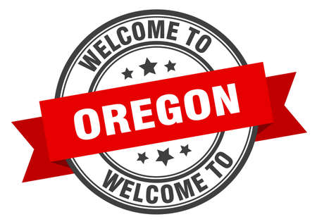 Oregon stamp. welcome to Oregon red sign