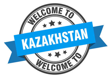 Kazakhstan stamp. welcome to Kazakhstan blue sign