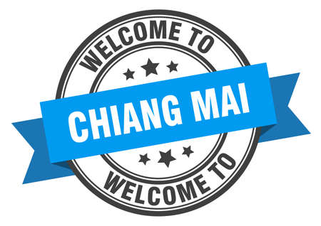 Chiang mai stamp. welcome to Chiang mai blue sign Иллюстрация