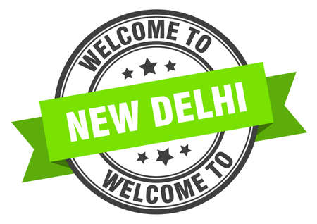 New Delhi stamp. welcome to New Delhi green sign 일러스트