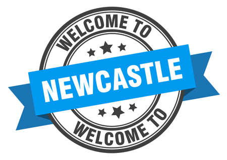 Newcastle stamp. welcome to Newcastle blue sign