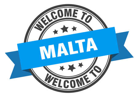 Malta stamp. welcome to Malta blue sign