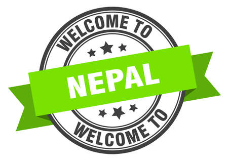 Nepal stamp. welcome to Nepal green sign Çizim