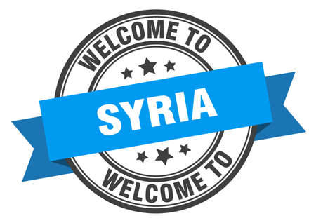 Syria stamp. welcome to Syria blue sign