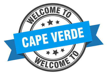 Cape Verde stamp. welcome to Cape Verde blue sign