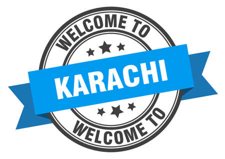 Karachi stamp. welcome to Karachi blue sign Illustration