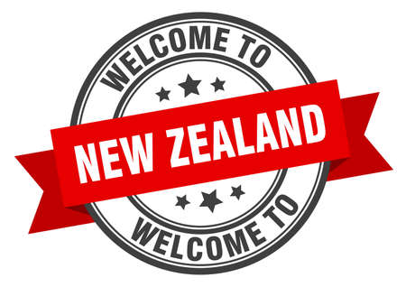 New Zealand stamp. welcome to New Zealand red sign Ilustracja