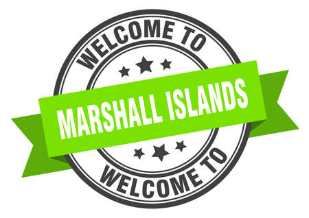 Marshall Islands stamp. welcome to Marshall Islands green sign