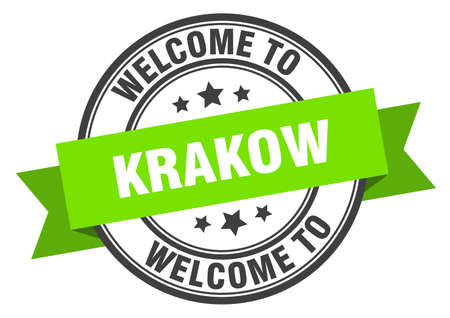 Krakow stamp. welcome to Krakow green sign