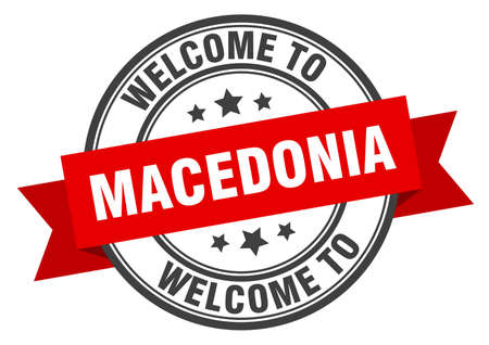 Macedonia stamp. welcome to Macedonia red sign