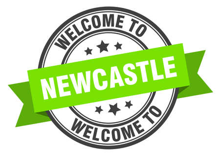 Newcastle stamp. welcome to Newcastle green sign