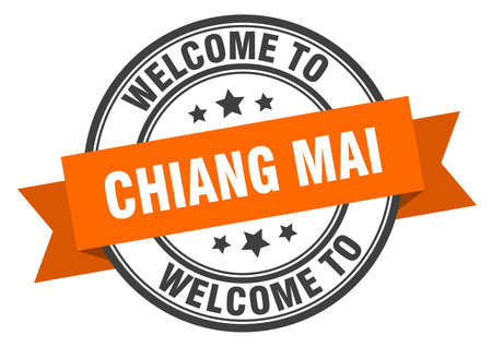 Chiang mai stamp. welcome to Chiang mai orange sign