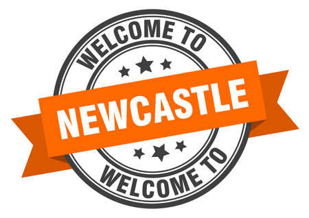 Newcastle stamp. welcome to Newcastle orange sign Illustration