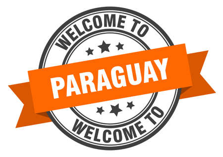 Paraguay stamp. welcome to Paraguay orange sign