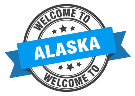 Alaska stamp. welcome to Alaska blue sign