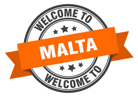 Malta stamp. welcome to Malta orange sign 일러스트