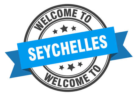 Seychelles stamp. welcome to Seychelles blue sign