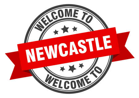 Newcastle stamp. welcome to Newcastle red sign