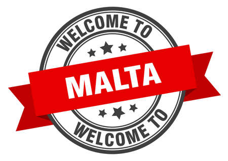 Malta stamp. welcome to Malta red sign