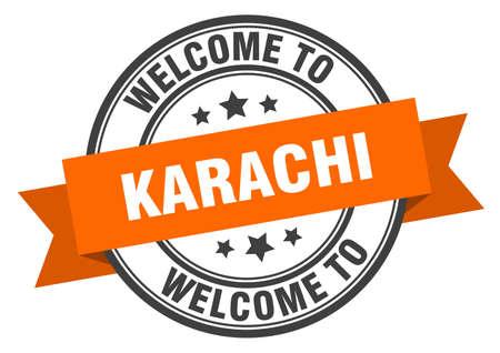 Karachi stamp. welcome to Karachi orange sign