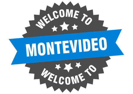 Montevideo sign. welcome to Montevideo blue sticker