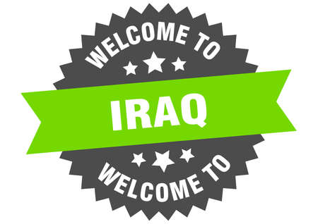 Iraq sign. welcome to Iraq green sticker