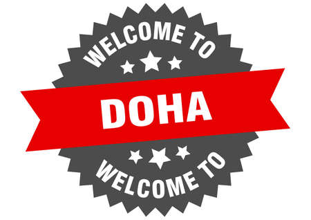 Doha sign. welcome to Doha red sticker