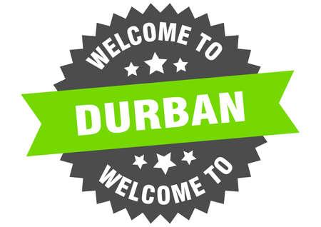 Durban sign. welcome to Durban green sticker