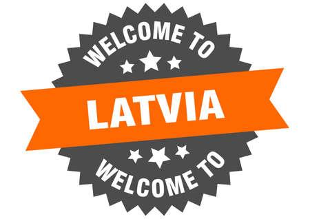 Latvia sign. welcome to Latvia orange sticker