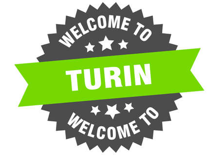 Turin sign. welcome to Turin green sticker Vettoriali